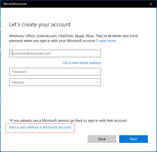 Add a user with a Microsoft account