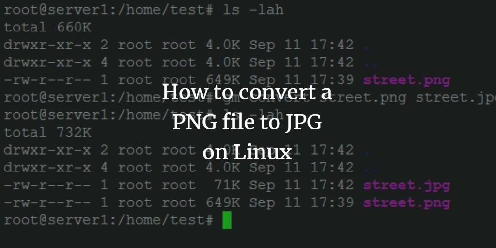 Convert a PNG file to JPEG format on Ubuntu