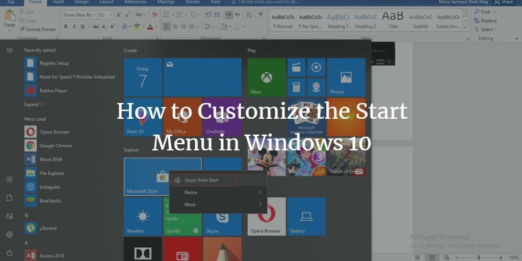 Customize Windows Start Menu