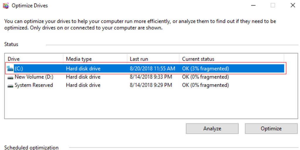 Windows Disk Defragmentation
