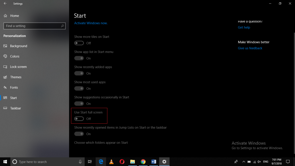 Use Start full screen
