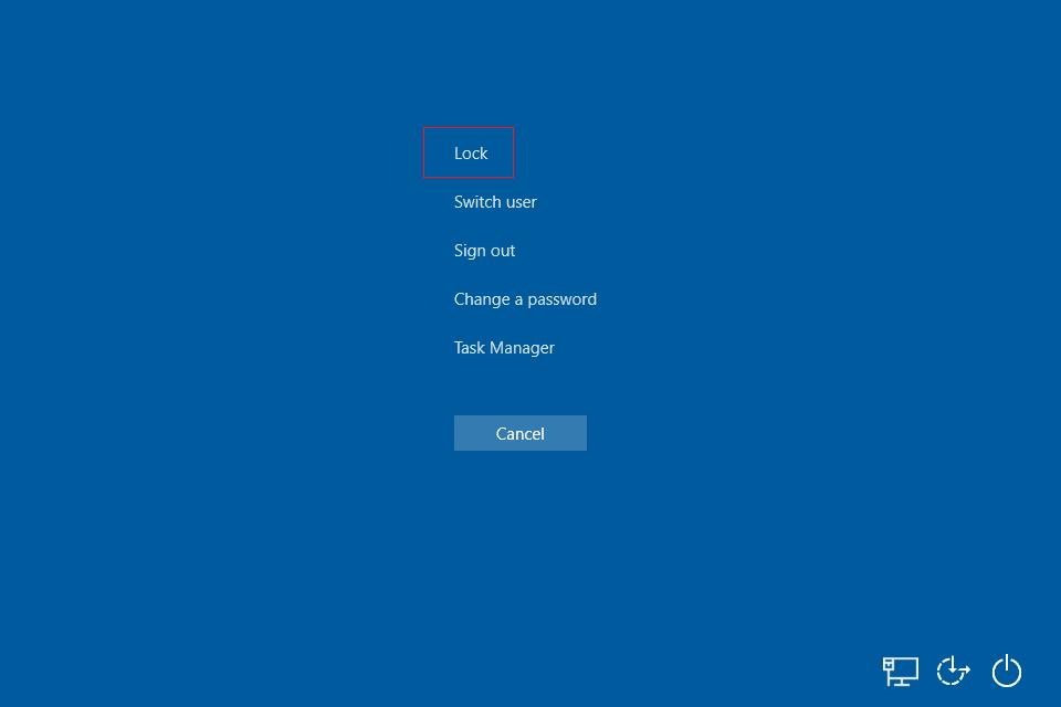 Windows 10 sign out menu