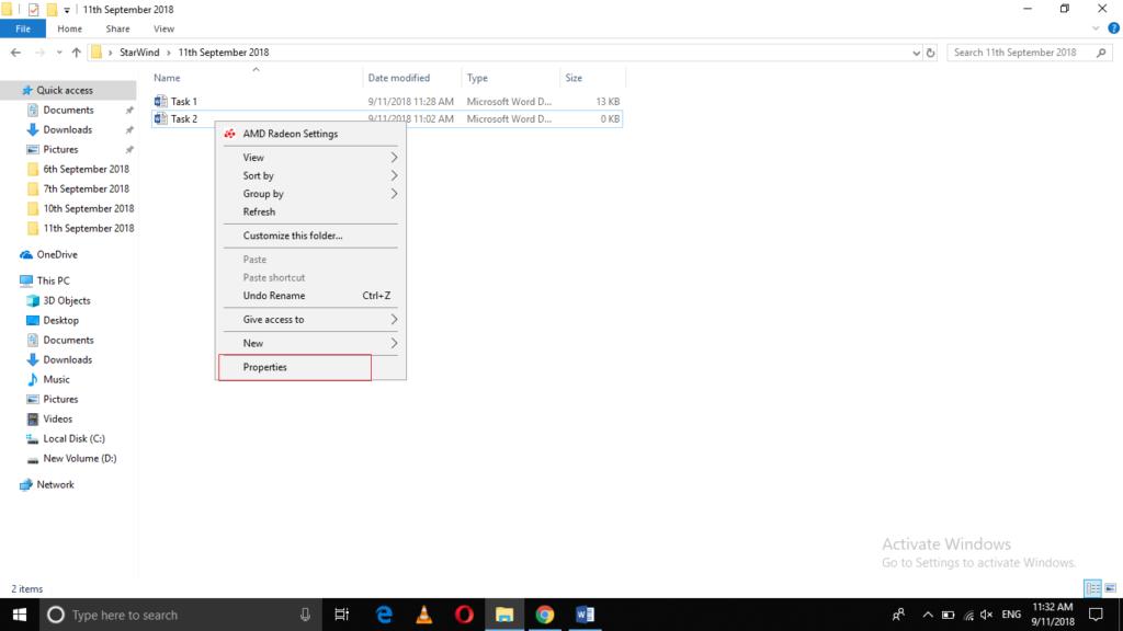 Select properties in file menu