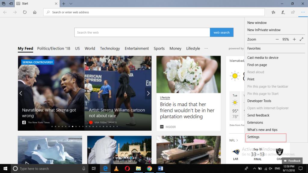 Edge Browser menu