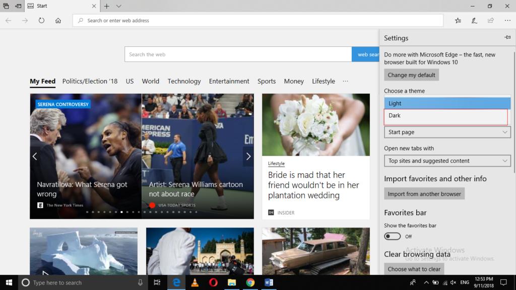 Edge Browser > Choose a theme