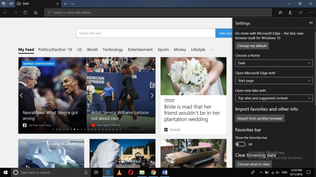 Microsoft Edge Browser in Dark Mode