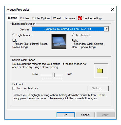Mouse button settings