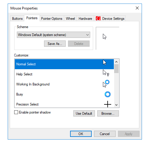 Mouse Pointer Settings