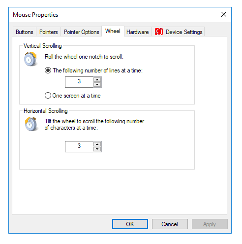 Mouse Wheel settings