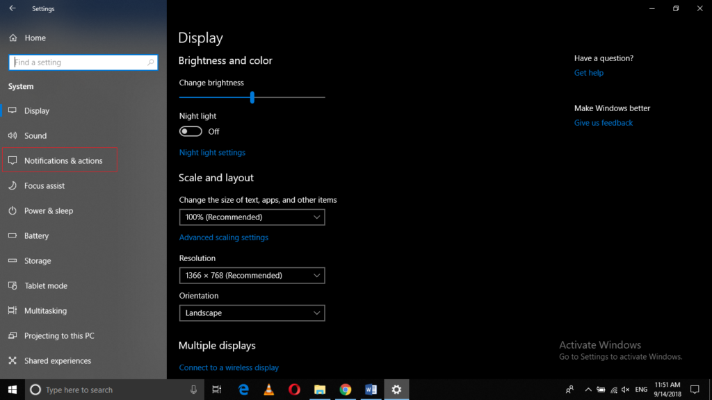 System Tab of Windows 10 Settings