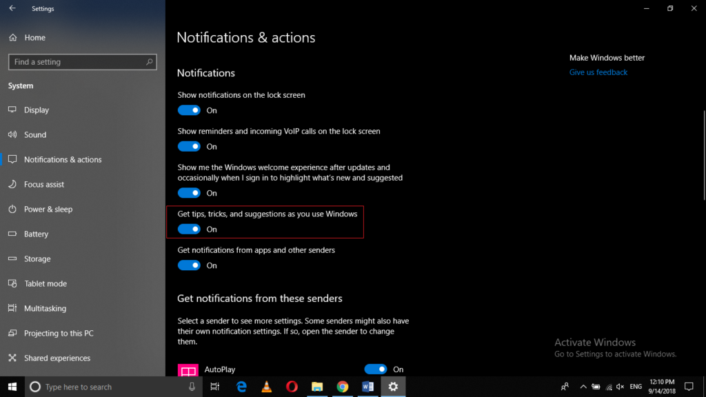 Turn Windows Suggestion notifications off