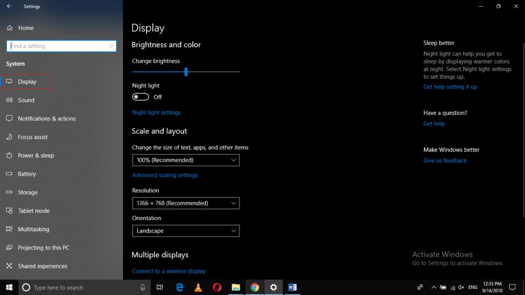 Windows 10 System Tab