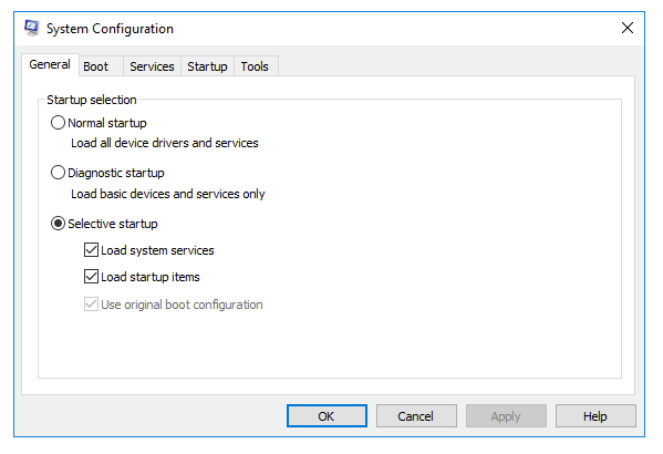 System Configuration window