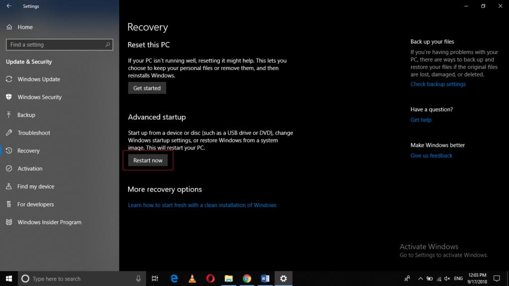 Restart PC now