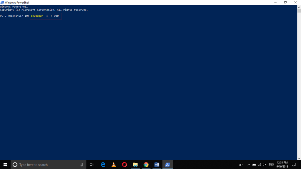 Shutdown Windows 10 using PowerShell in 15 minutes