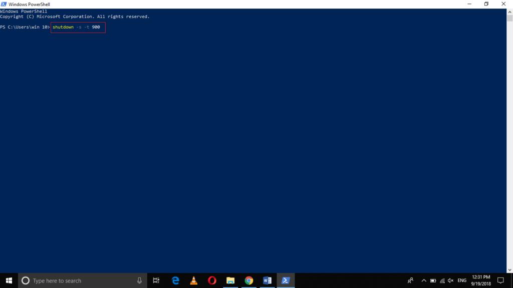 Shutdown Windows 10 using PowerShell in 15 minutes