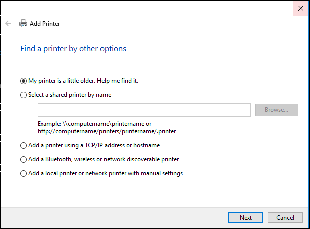 Find printer by other options