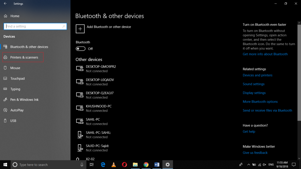 Devices tab in settings