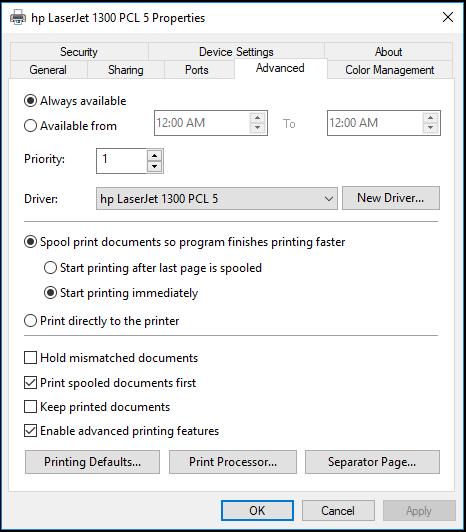 Printer Properties window