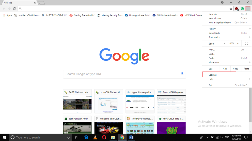 Launch Browser menu