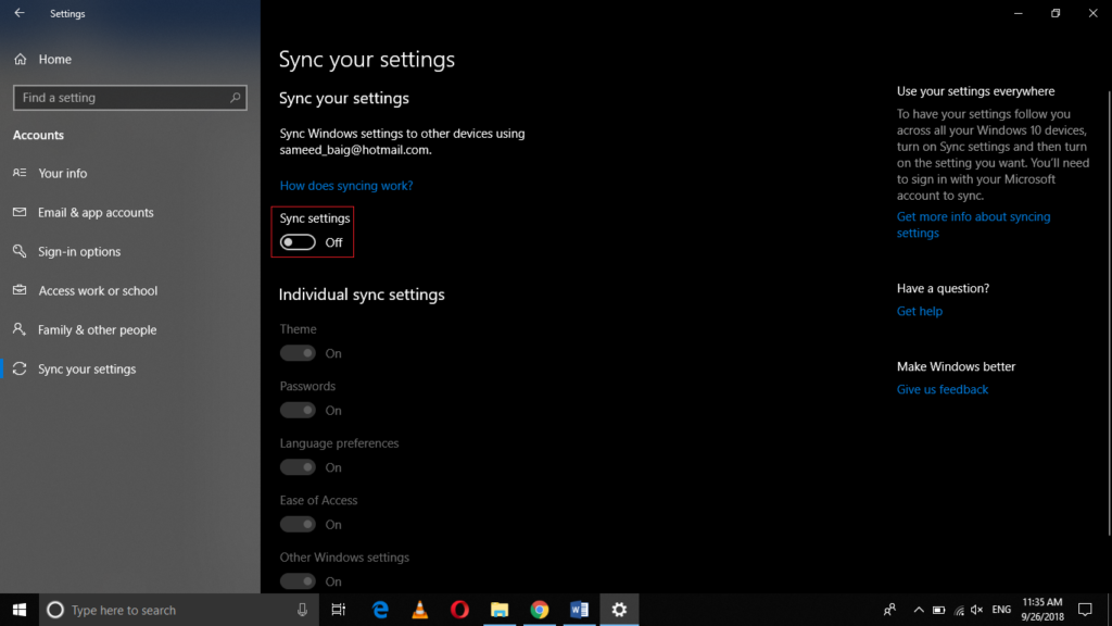 Switch Sync Settings toggle button to on
