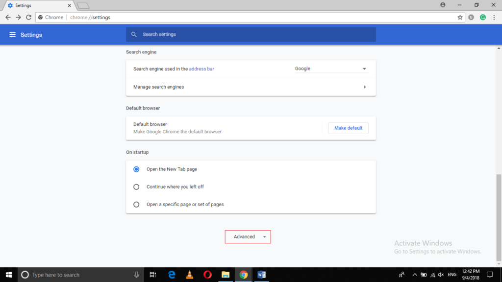 Chrome settings window