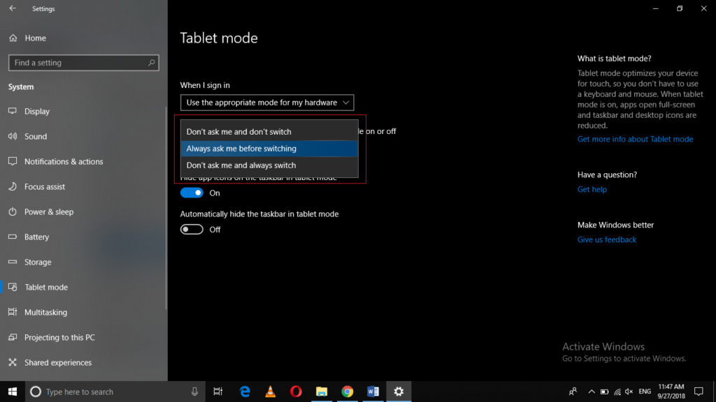 When this device automatically switches tablet mode on or off