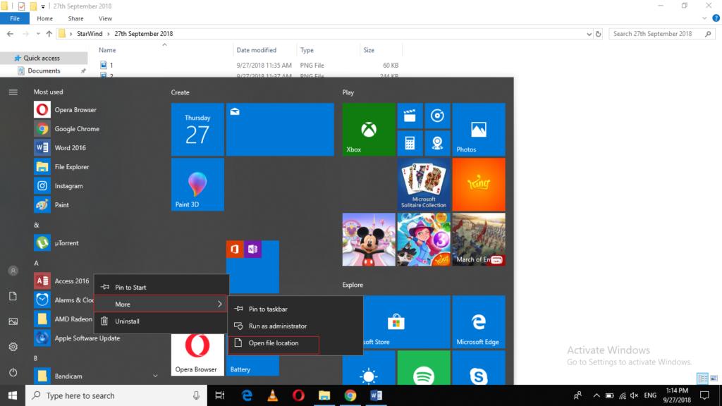 Right-Click on Start menu item