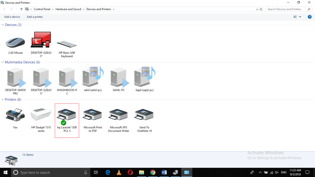 Devices and Printers in Windows 10