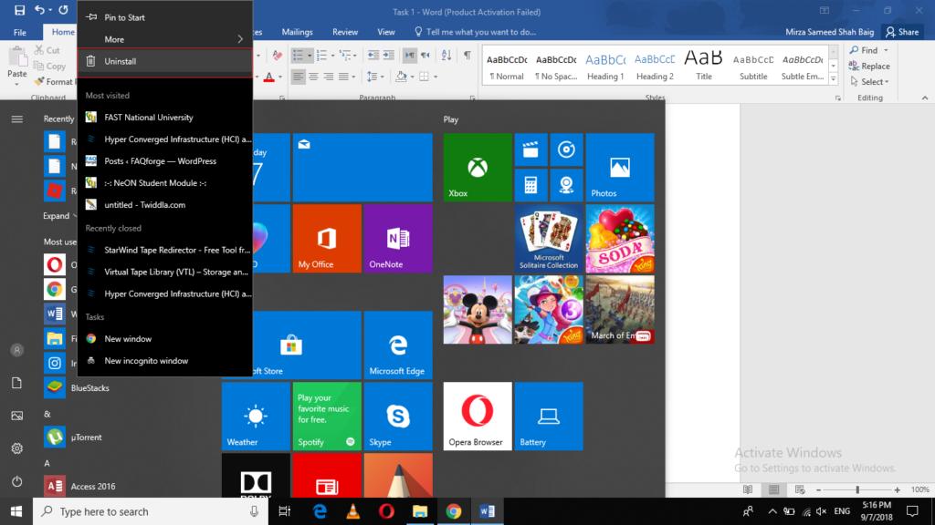Uninstall an Item from Windows start menu