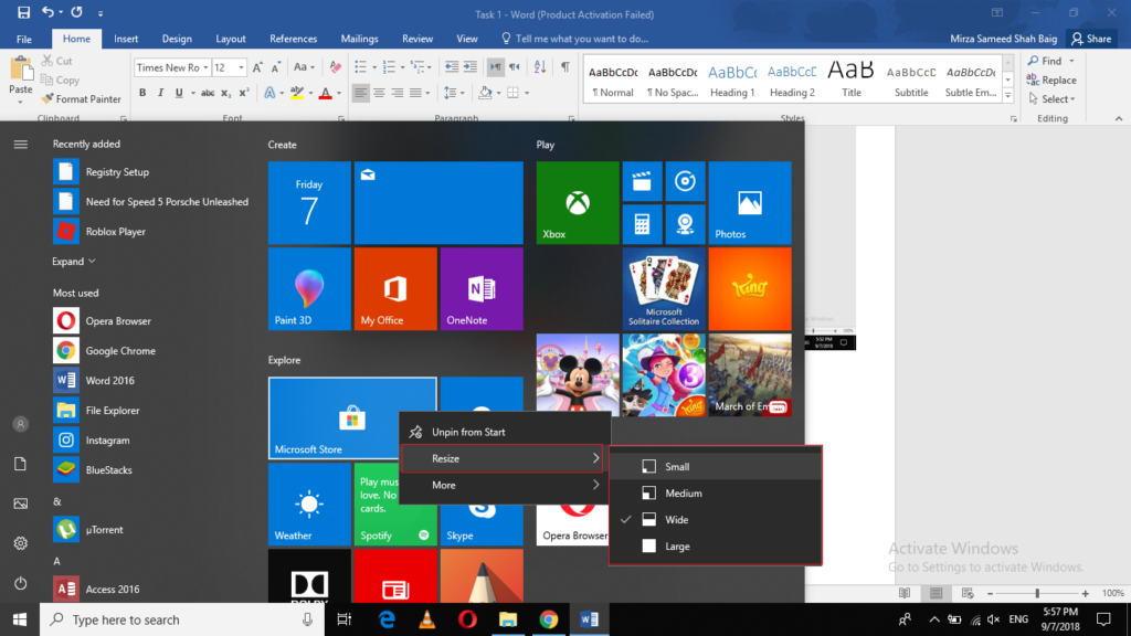 Resize the Tiles in the Start Menu