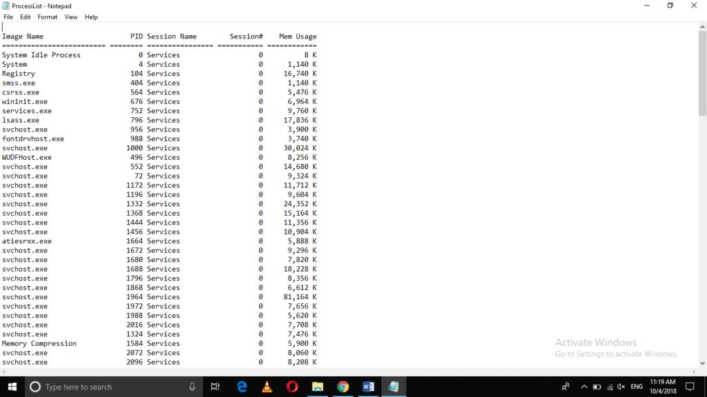 Windows Process list to text file