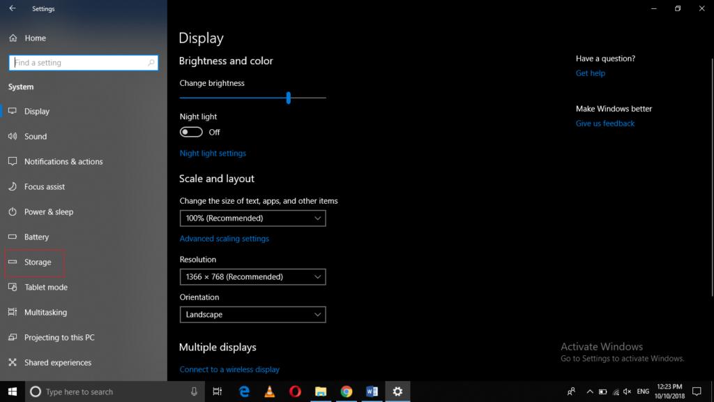 Windows System tab