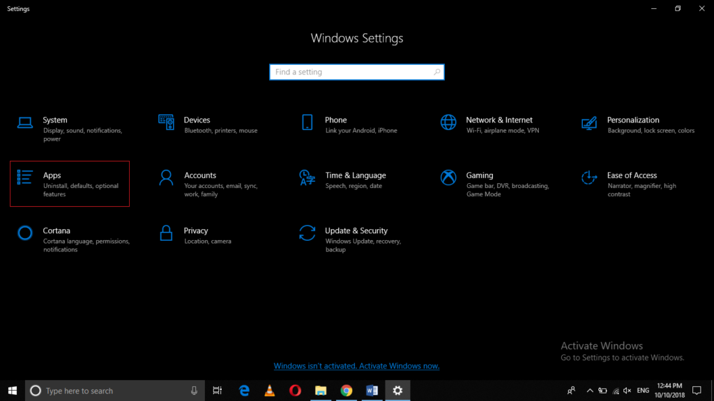 Open Settings in Windows 10