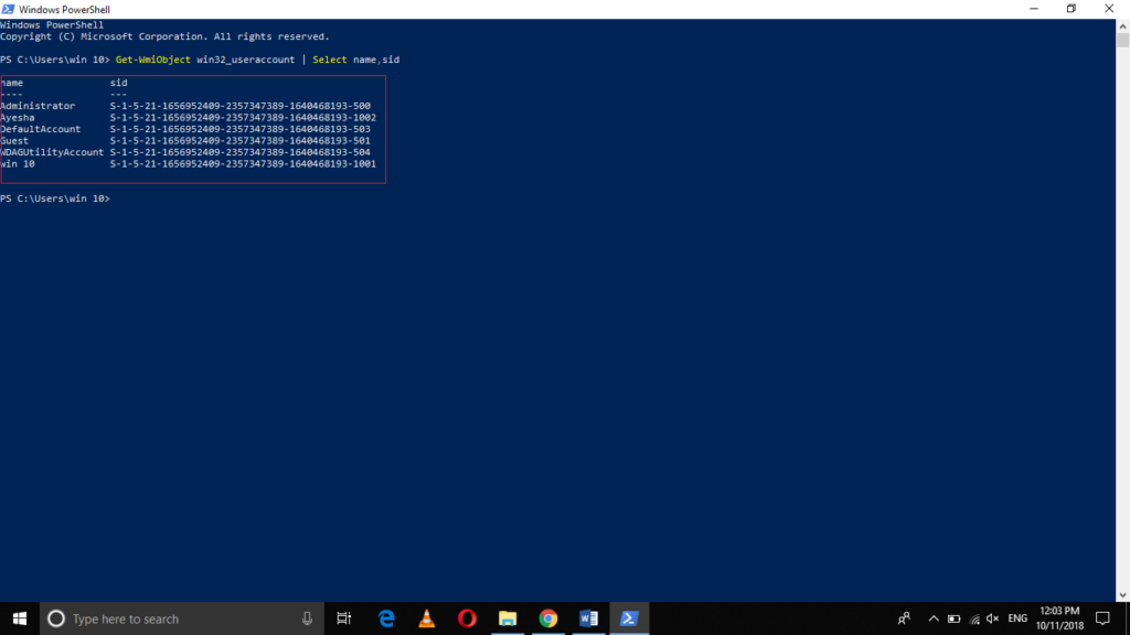 All user SID listed with PowerShell