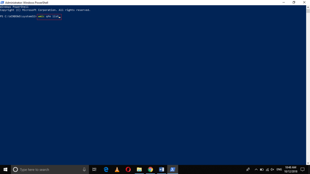 PowerShell wmic qfe list command
