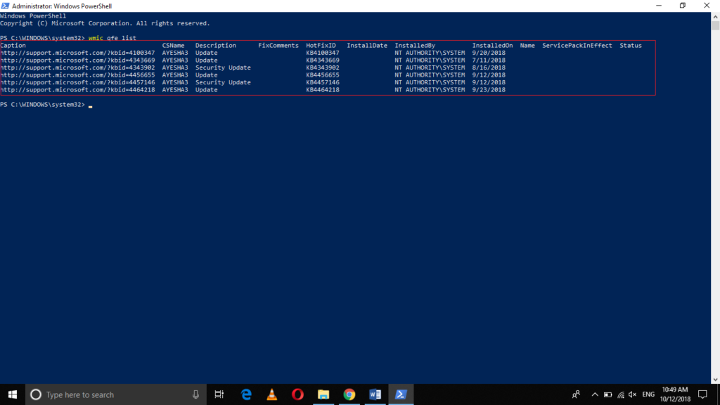 Windows 10 update history in your PowerShell window