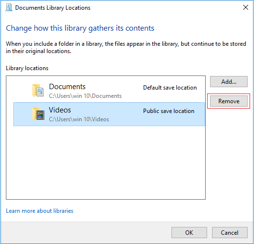 Remove folder from library