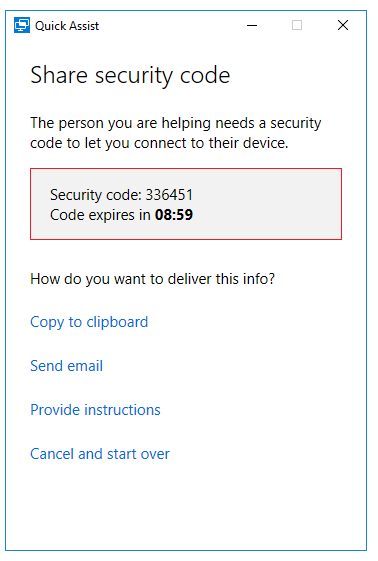 Quick Assist security code