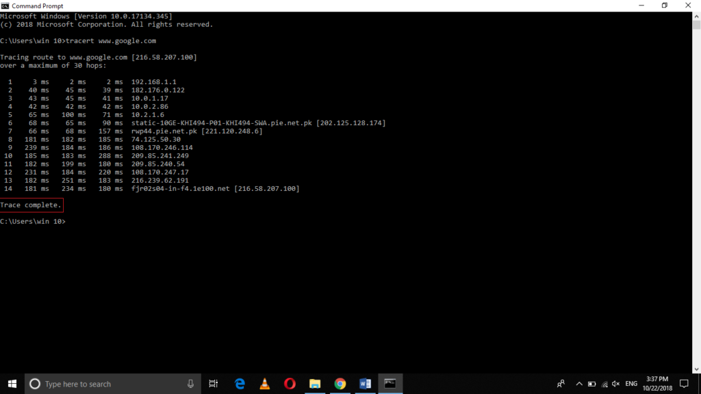 Tracert command result