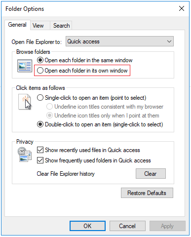Open each folder in its own window