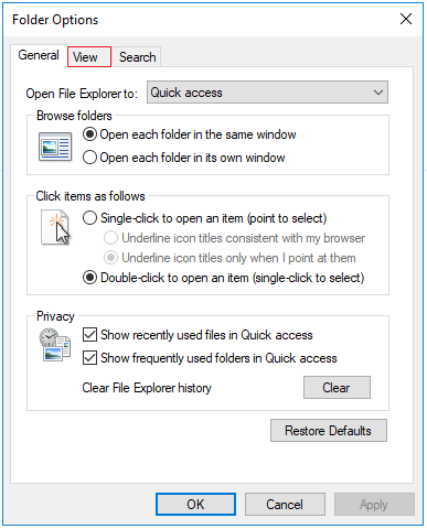 Folder Options window