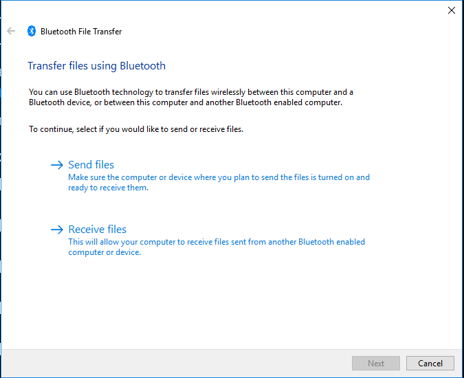 Bluetooth File Transfer dialogue