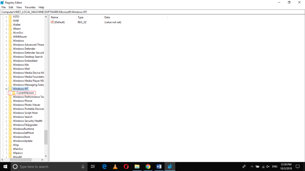HKEY_LOCAL_MACHINE > Software > Microsoft > Windows NT > Current Version