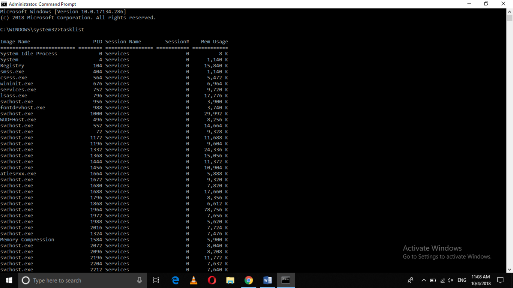 Task list shown in Windows command prompt