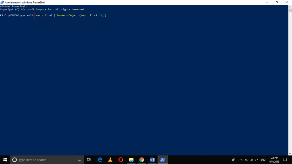 Clear log with PowerShell