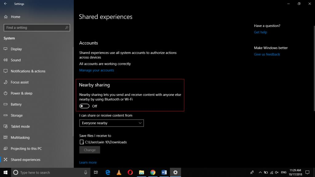Disable Windows Nearby Sharing