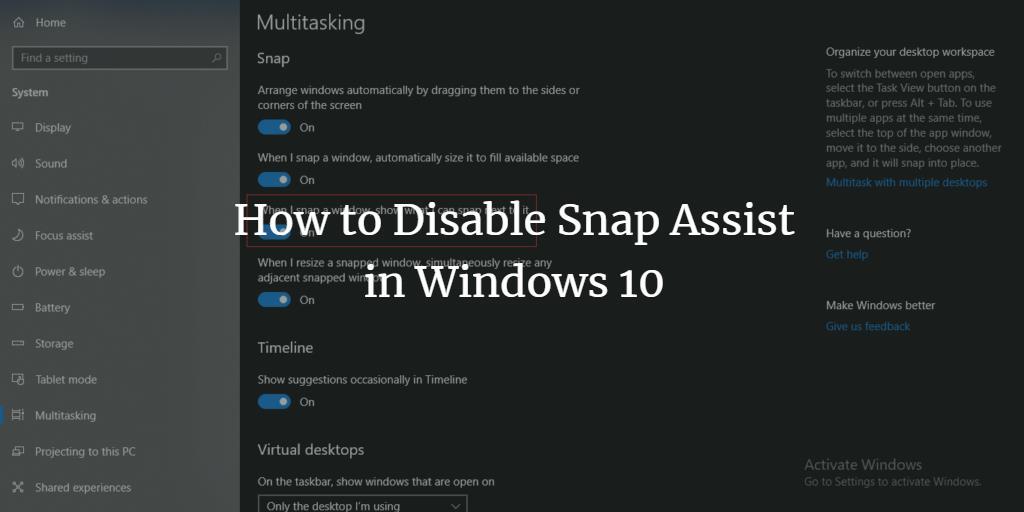 Disable Windows 10 Snap Assist
