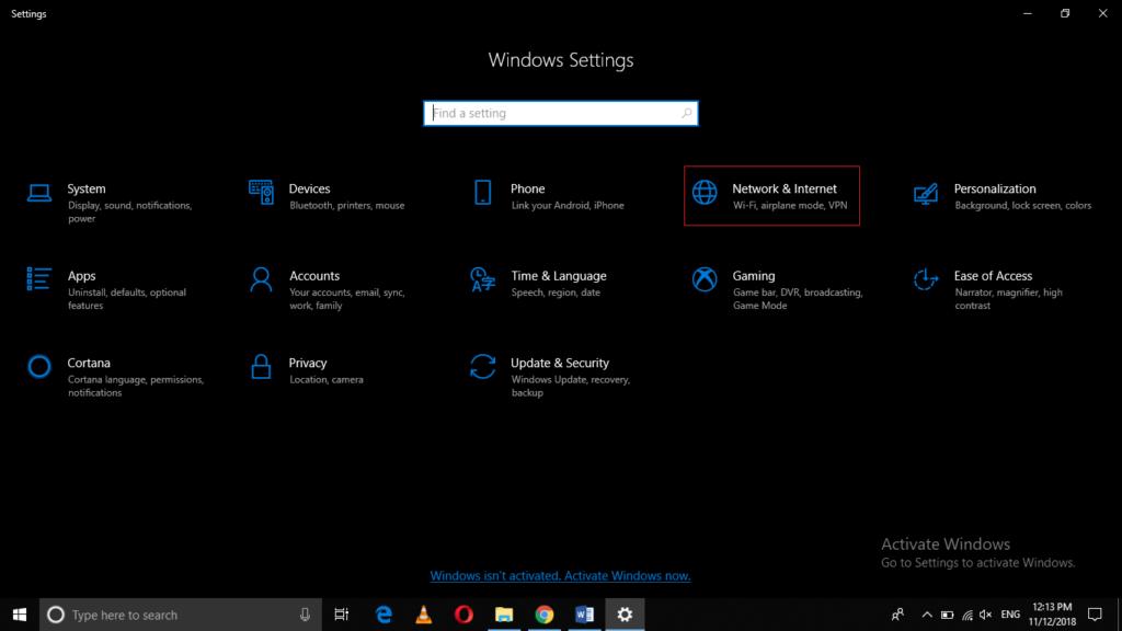 Open Windows Settings