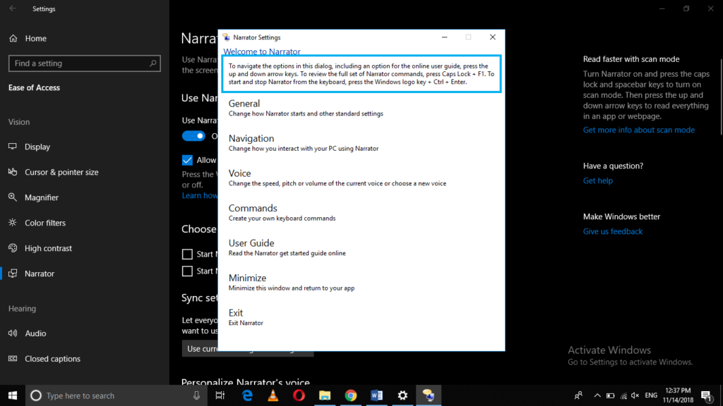 Windows Narrator Settings